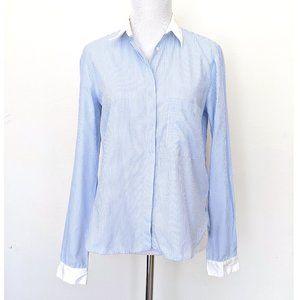 Zara Woman White Blue Stripe Button-down Shirt